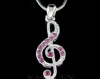 Swarovski Crystal Purple TREBLE G CLEF Love Music Musical Note Charm Chain Necklace Jewelry Musican Piano Guitar Teacher Christmas Gift new