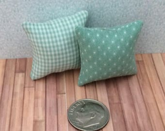 One Inch Scale Set of Green Patterned Pillows - 6