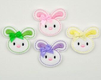 BUNNY - Embroidered Felt Embellishments / Appliques - White & Multi Pastels  (Qnty of 4) SCF1020