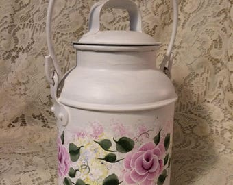 Pink Victorian Rose Hand Painted Metal Handled Upcycled Milk Can Shabby Cottage Chic