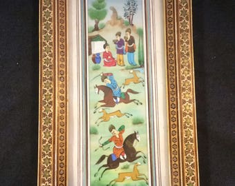 Persian Oil Painting Middle Eastern Painting Hunting Scene Micro Mosaic Khatam Inlay Wood Frame Marquetry Frame Hand Painted Vintage Small