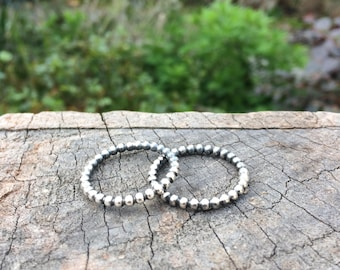 Beaded Band Ring / Stacking Ring / Bead Band Ring / Sterling Silver Ring / Bead Stack Ring / Bubble Ring Band / Bubble Stack Ring