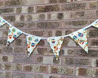 Handmade Bunting Cream with Owls