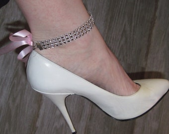 "8"" Rhinestone anklets with ribbon!"