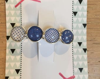 Hairpin French Barette dark blue/white