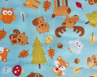 Riley-Blake-Designs-Fabric-Happy-Camper-Forest-Friends-Owls-Fox-Moose-Fall-Leaves-Thanksgiving-By-The-Yard-Fat-Quarters-Sewing-DIY-Projects