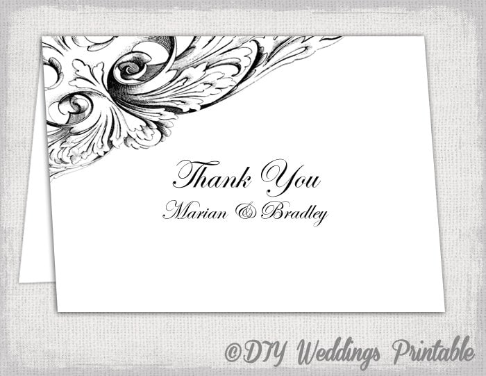 Thank You Card Template Black And White Vintage