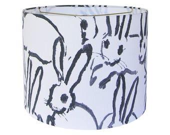 Black and White Lamp Shade, Patterned Lamp Shade, Custom Lampshade, Hutch Fabric Lamp Shade,  Print Lamp Shades Drum, Table Lampshade
