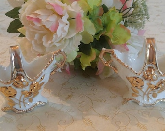 Set of Two Vintage Porcelain Rose Gold Trimmed Baskets