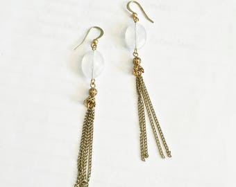 Fun Long Dangle Earrings with French Hooks, Faceted White Crystal with Long Chain Tassels, BoHo, Gypsy