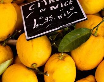 Food Photography, Citron of Nice, Fresh Yellow Lemons, Nice, France, French Riviera, kitchen wall art