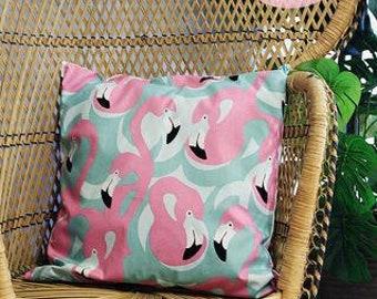 Blues Flamingo Retro Cushion