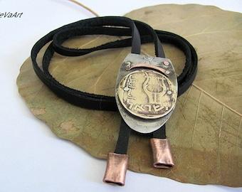 Bolo tie  Pendant For Mens  Mens Bolo Tie  Vintage bolo tie  Mens leather bolo tie  Handcrafted Metal  Leather bolo tie  Coin bolo tie  Tie