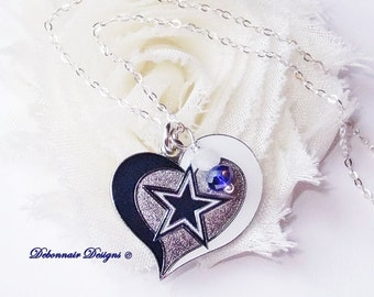 Dallas cowboy charm necklace unisex cowboys necklace blue dallas cowboys necklace cowboys heart charm necklace women pro football necklace dallas cowboy jewelry gift for her free shipping in us aloadofball Images