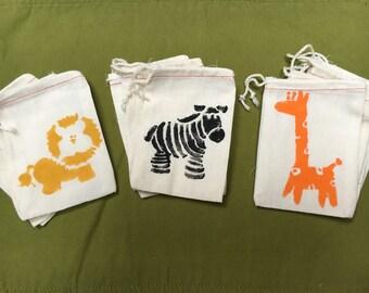Hand Stenciled Safari Animal Muslin Bag Party Favors (Set of 12)