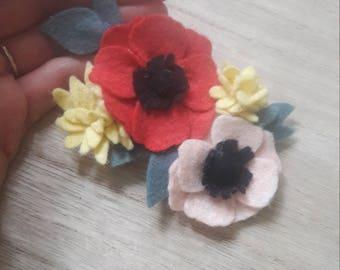 Flowered /fleurs wool felt hair clip