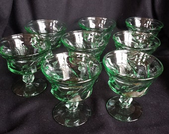 Vintage Fostoria Jamestown green sherbet glasses