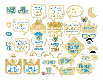 37 Twinkle Twinkle Little Star Baby Shower Photo Booth Props Boy - INSTANT DOWNLOAD - DIY Printable (Jpeg)