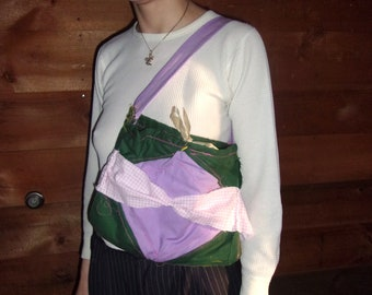 green and lavender quilted bag
