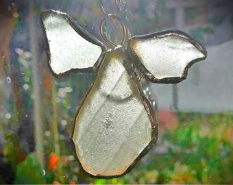 recycled glass, suncatchers, glass mobile, window decoration, Sea glass angel, guardian angel, angel ornament, sea glass pendant, Greek shop