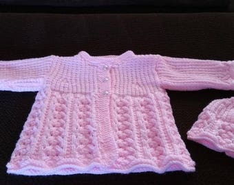 Baby Girls (3-6 mos.) Sweater and Cap
