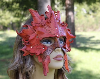 double layer autumn LEATHER leaf mask