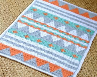 Crochet Pattern Baby Blanket Native American Style Afghan Crochet Pattern Beginner Knitting Pattern PDF File Instant Download