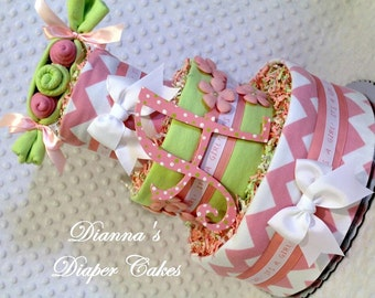 Peas in a Pod Girls Pink and Mint Green Baby Diaper Cake Shower Gift or Centerpiece with or without initial