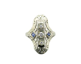 White Gold Diamond and Blue Sapphire Filigree Ring-Stamped 18 Karat-Edwardian Ring