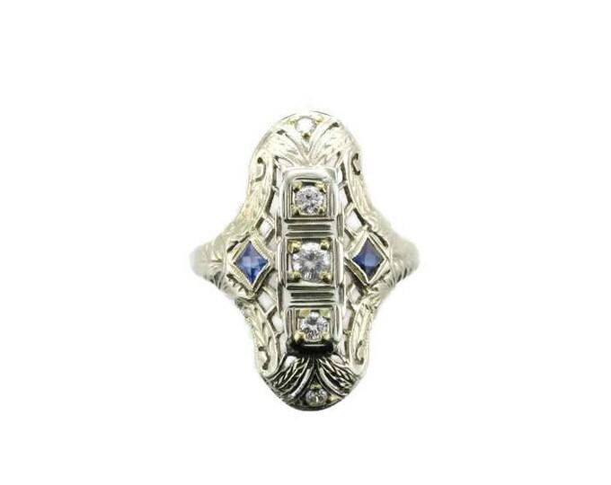 White Gold Diamond and Blue Sapphire Filigree Ring-Stamped 18 Karat-Edwardian Ring