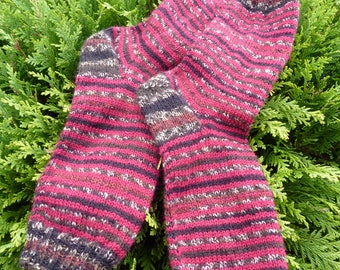 exclusive hand knit socks, red socks, striped socks knit, knitting socks, ladies socks, men's socks,