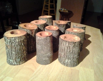 30 Natural RUSTIC OAK TEA CANDLe Holders/ with free candles