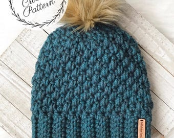 The Jackson Beanie Crochet PATTERN, Written Tutorial, PDF Pattern, Instant Download, Skill Level: Beginner