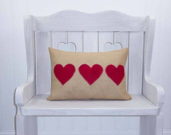 Valentine Pillow - Farmhouse Pillow - Burlap pillow cover - Heart Pillow - Red and White - Ticking Stripe - Lumbar Pillow - Organic cotton