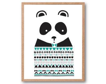 SWEATER Panda Art Print, Panda gifts, Panda illustration, animal Illustration, Geometric print, Kids room art