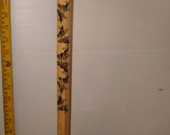 """36"""" Wooden Walking Stick, Walking Cane With Butterfly Print"""