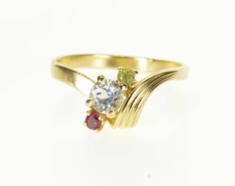 14k 1940's Assorted Spinel Cluster Grooved Bypass Ring Gold