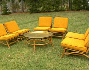 Vintage Mid Century Set of 6 Slipper Chairs and Matching Brass Table