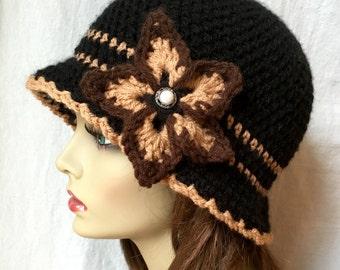 Black Tan Brown Hat, Woman Hat, Brim Hat Cloche, Flower, Pearl, Birthday Gifts, Wedding Hat, Tea Party JE276CF22