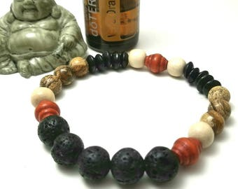 Men's Lava Bead Essential Oil Diffuser Bracelet;  Natural Gemstone and Wood Diffuser Bracelet for Men; Father's Day Gift