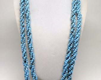 Vintage Estate Baby Blue GLASS Beaded Very Long Necklace