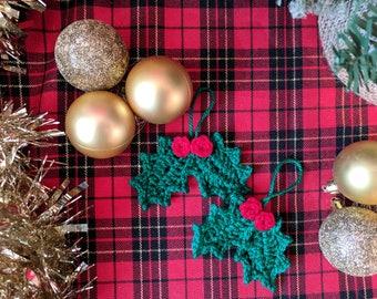 Crochet Holly Christmas Decoration