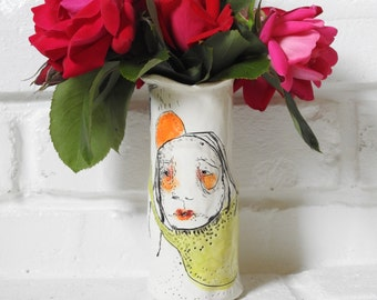 "Contemporary Home- Ceramic Art Vessel - Handcrafted with an Original Illustration by Christina Romeo ""Portia"""
