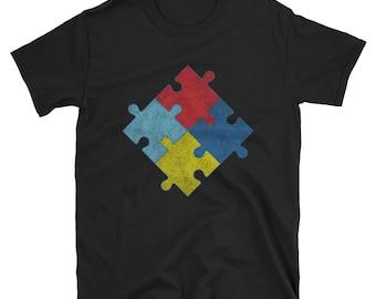 Autism Awareness Puzzle Pieces Vintage T Shirt