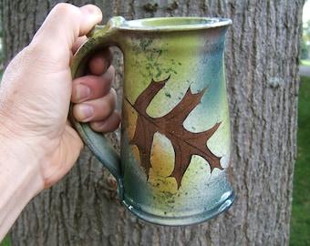 coffee mug 24-26 ounce  large mug,beer tankard in green leaf pattern fern and oak