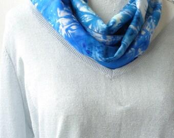 blue and white silk scarf blue hand dyed silk scarf elegant silk scarf gift for birthday handmade silk scarf