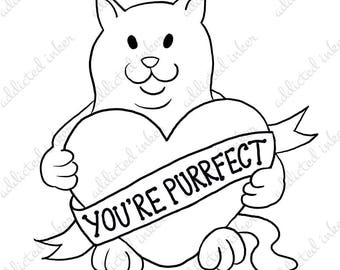 Digital stamp   Valentines cat   You're Purrfect   Colouring project