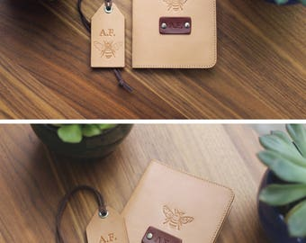 SALE 50% FREE name initials, set of Personalized Leather Passport Cover and luggage tag passport holder wanderlust travel Honey Bee gift set
