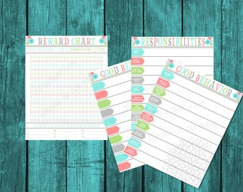 Toddler Behavior CHart, Reward Chart, Consequence Chart, Toddler Point System, Responsibility Chart, Printable Chart for sticker rewards
