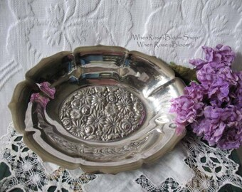 Vintage Silver Dish for Candy Soap Tea Party Wedding Birthday Classic Gift  Modern Style Silver Repousse Multifloral Pattern  WhenRosesBloom